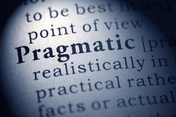 Fake Dictionary, Dictionary definition of the word pragmatic.